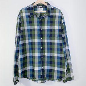 Lucky Brand Green & Blue Button Down Long Sleeve